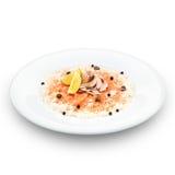 Fresh delishous salmon carpaccio. Royalty Free Stock Photo