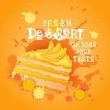 Fresh Dessert Banner Colorful Cake Sweet Beautiful Delicious Food Logo Royalty Free Stock Images