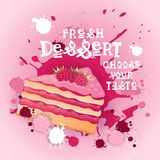 Fresh Dessert Banner Colorful Cake Sweet Beautiful Delicious Food Logo Royalty Free Stock Photography
