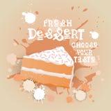 Fresh Dessert Banner Colorful Cake Sweet Beautiful Delicious Food Logo Stock Image