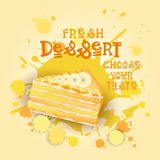 Fresh Dessert Banner Colorful Cake Sweet Beautiful Delicious Food Logo Royalty Free Stock Photos