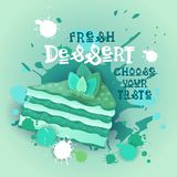 Fresh Dessert Banner Colorful Cake Sweet Beautiful Delicious Food Logo Stock Photography