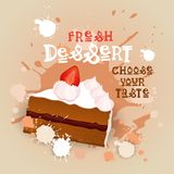 Fresh Dessert Banner Colorful Cake Sweet Beautiful Delicious Food Logo Royalty Free Stock Photo