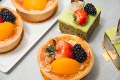 Fresh dessert fruit tart  assorted tropical fruits Royalty Free Stock Image