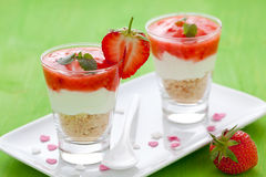 Fresh dessert with mascarpone. And strawberry stock images