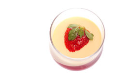 Fresh dessert with strawberry and cream Stock Images
