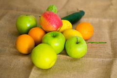 Fresh detailed fruit - apples, orange and lemons Royalty Free Stock Photo