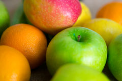 Fresh detailed fruit - apples, orange and lemons Stock Photos