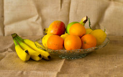 Fresh detailed fruit - lemon, orange and bananas Stock Images