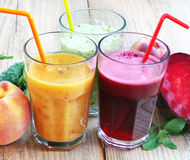 Fresh Detox Juices with Beet, Peaches, Spinach and Kiwi Fruit an Royalty Free Stock Photography
