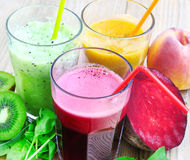 Fresh Detox Juices with Beet, Peaches, Spinach and Kiwi Fruit an Royalty Free Stock Images