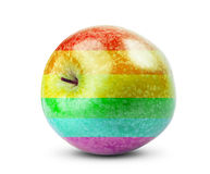 Fresh diet Apple fruit with colors of the rainbow Stock Images