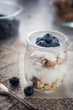 Fresh and diet muesli and yoghurt for breakfast Stock Photo