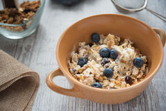 Fresh and diet muesli and yoghurt for breakfast Stock Images