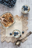 Fresh and diet muesli and yoghurt for breakfast Royalty Free Stock Image