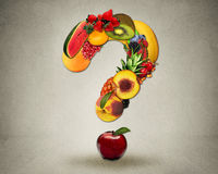 Fresh diet questions concept group fruits shape question Stock Images