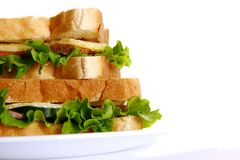 Fresh diet sandwich with salad Stock Images