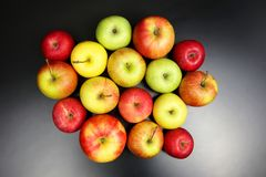 Fresh different apples on dark background stock photography