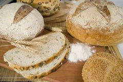 Fresh different kinds of bread with sour and wheat head Royalty Free Stock Photos
