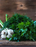 Fresh dill, bunch of parsley and organic young garlic Royalty Free Stock Photography
