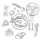 Fresh dinner food with sketch vector icons Royalty Free Stock Photo
