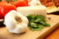 Fresh Dinner Ingredients. For an Italian meal Royalty Free Stock Photography