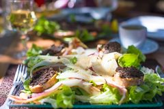 Fresh Dinner Of Salad And Meat In Outdoor Cafe Royalty Free Stock Image