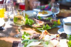 Fresh Dinner Of Salad And Meat In Outdoor Cafe Royalty Free Stock Photos