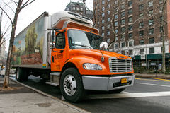 Fresh Direct food delivery truck. New York, January 21, 2017: A Fresh Direct food delivery truck is parked on Broadway near 72 street Royalty Free Stock Images