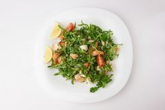Salad with arugula and shrimp. Stock Images