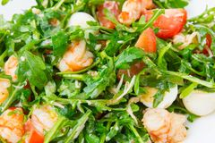 Salad with arugula and shrimp. Fresh dish with arugula, cherry tomatoes, shrimps close-up Stock Photography