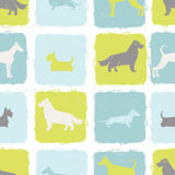 Fresh dog breeds silhouettes  seamless pattern Stock Photography