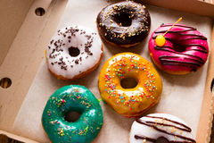 Fresh donuts in a box Royalty Free Stock Images