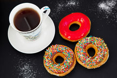 Fresh donuts for brakfast Stock Images