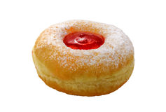 Fresh donuts with jam in the bakery for celebration. Tasty donut with jam on white background stock photo