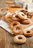 Fresh donuts with powder sugar Royalty Free Stock Photography