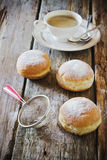 Fresh donuts with powdered sugar Royalty Free Stock Photography
