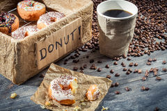 Fresh donuts to take away with coffee Royalty Free Stock Images