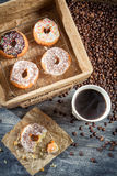 Fresh donuts to take away with coffee Stock Images