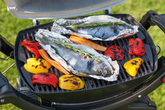 Fresh dorado fish and bell pepper grill cooking Royalty Free Stock Photo