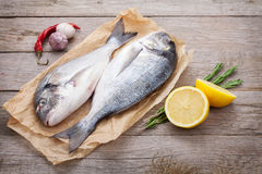 Fresh dorado fish cooking with spices and condiments Royalty Free Stock Photos