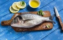 Fresh Dorado fish and lemon Stock Image