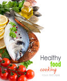 Fresh dorado fish and seafood Royalty Free Stock Images
