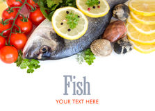 Fresh dorado fish, seafood and vegetables Royalty Free Stock Images
