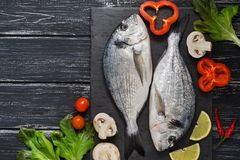 Fresh dorado fish on a slate plate with vegetables.  Royalty Free Stock Photo