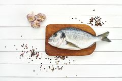 Fresh dorado fish on wooden cutting board with garlic and peppercorns. Top view, copy space Stock Photography