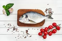 Fresh dorado fish on wooden cutting board with garlic, tomatoes and peppercorns. Top view, copy space Stock Image