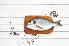 Fresh dorado fish on wooden cutting board with garlic. Top view. Copy space Royalty Free Stock Photo