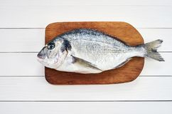Fresh dorado fish on wooden cutting board on white wooden table. Top view. Copy space Royalty Free Stock Image