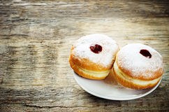 Fresh doughnuts with jam for Hanukkah Stock Photos